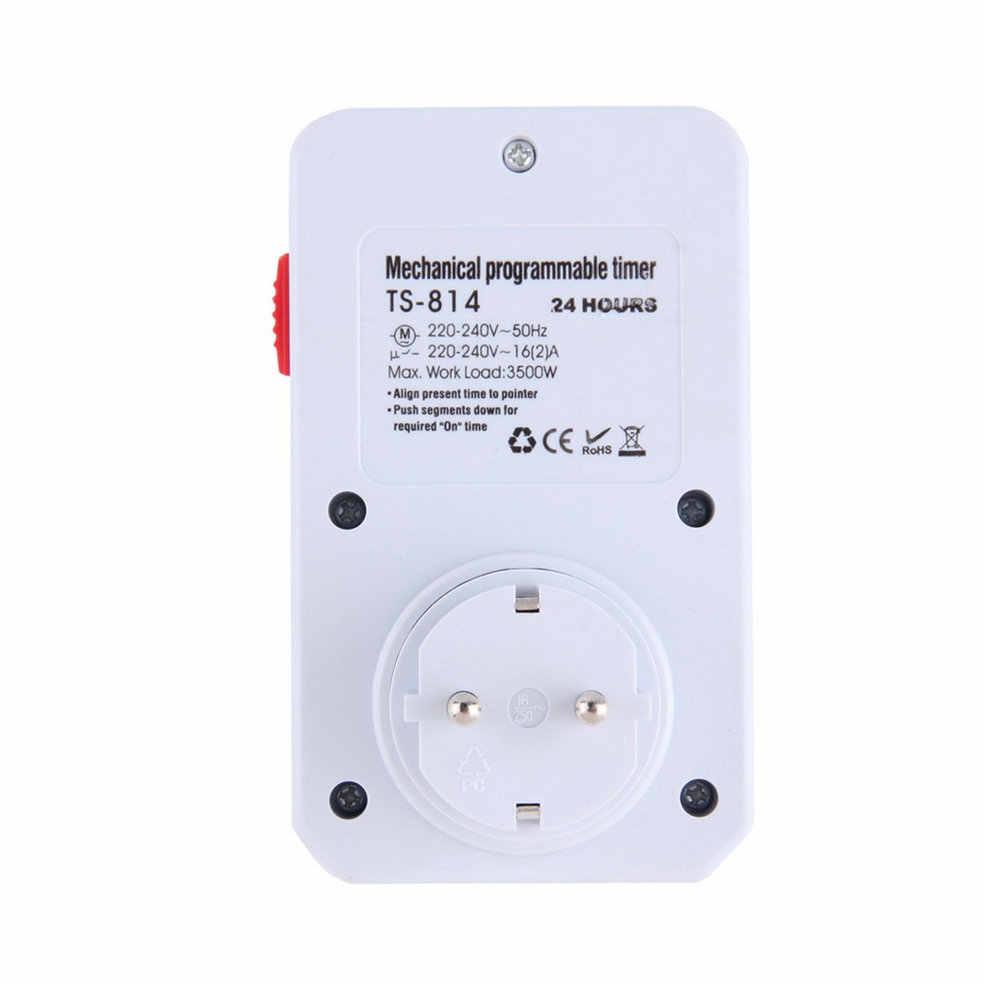 Na całym świecie wtyczka EU 24-godzinna programowalna mechaniczna wtyczka elektryczna programator czasowy przełącznik zasilania oszczędzanie energii
