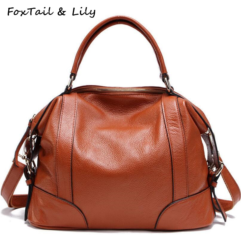 FoxTail & Lily Ladies Genuine Leather Bags Handbags Women Famous Brands Soft Real Leather Shoulder Crossbody Bags Luxury Quality