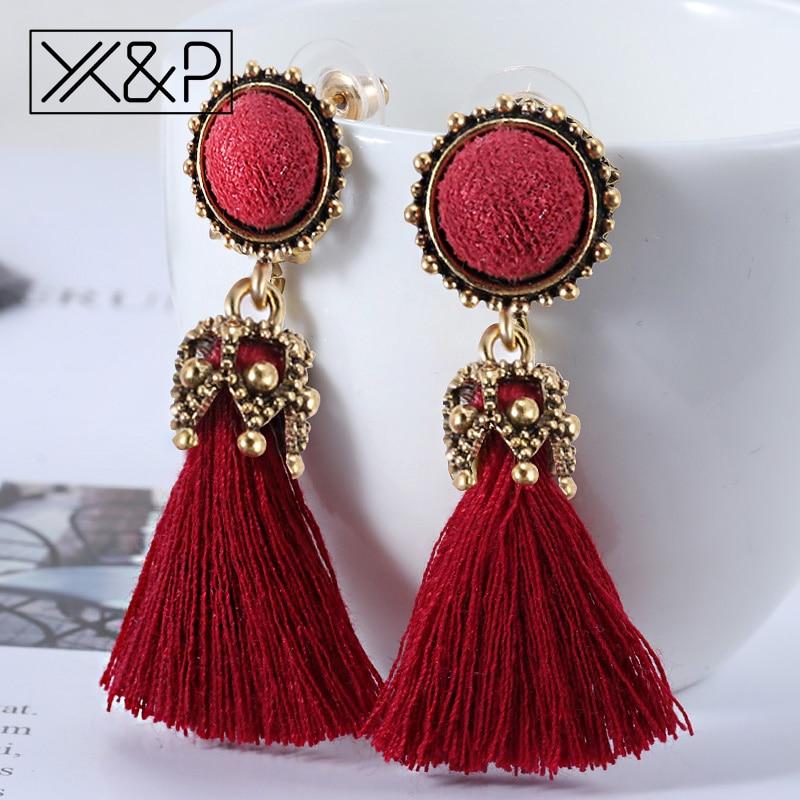 X&P Small Tassel Earrings for Women Fashion Jewelry Bohemian Ball Statement Face Fringed Tiny Drop Earring Female Jewellery Gift