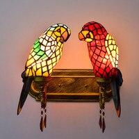 Витражное Стекло двойные попугаи настенный светильник осветительное оборудование современный Стиль творческий бар клуб лобби Спальня E27 б