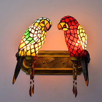 Stained Glass Double Parrots Wall Lamp Lighting Fixture Tiffany Style Creative Bar Club Lobby Bedroom E27 base Led Wall Light