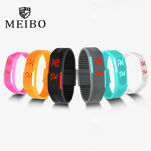 2016 new design LED watch women fashion sports watches silicone candy multicolor touch screen digital man Wristwatch bracelet