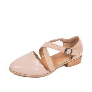Image 4 - MCCKLE נשים מחודדות רצועת צלב הבוהן מחודדת אבזם נקבה נעליים מוצקות מזדמנים נעליים נעלי גבירותיי רטרו נוחות