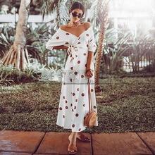 CUERLY Polka Dot Boho Maxi Long Dress Bohemian Sexy V Neck Off Shoulder Sashes Ankle-Length Female Dresses Summer Women Vestido