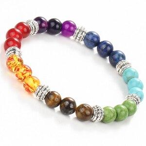 Image 5 - WENN MICH Mode 7 Chakra Armband Männer Schwarz Lava Healing Balance Perlen Reiki Buddha Gebet Natürliche Stein Yoga Armband Frauen jewel