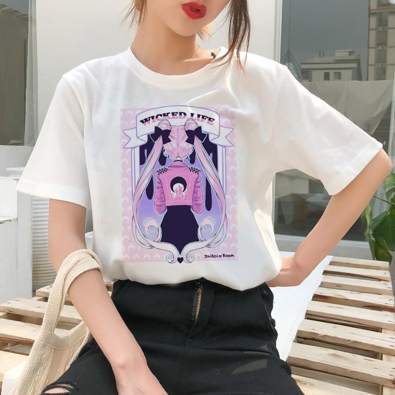 Sailor Moon Summer Fashion T Shirt Women Female Harajuku Fun T-Shirt Cute Cat Tshirt Cartoon Ulzzang Top Tees kawaii clothes(China)