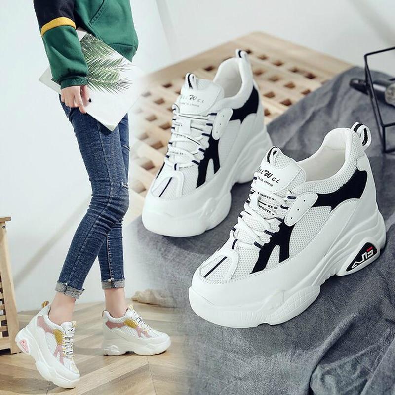 Haute Wedge W609 Interne 2 Chaussures Cm Automne Talons forme 9 2019 Femme Casual Femmes Mode Plate Printemps Croissante 1 Sneakers Hauteur AxwUzntq1