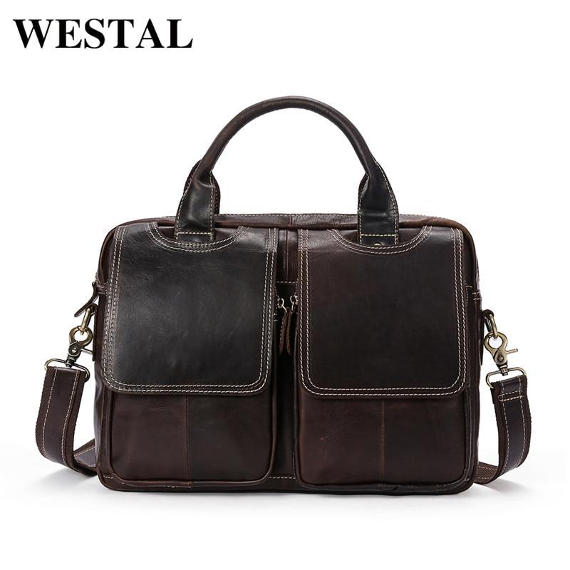 WESTAL Mens Bag Genuine Leather Crossbody Bags Shoulder Bag Men Messenger Leather Fashion Totes Solid Mens Bag Handbag 8002