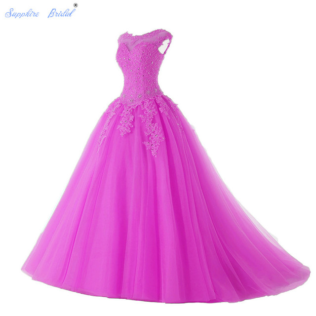 Sapphire Bridal Long Party Gowns Vestido De 15 Anos De Cap Sleeve lace Open Back Teal Silver Fuchsia Beading Quinceanera Dress