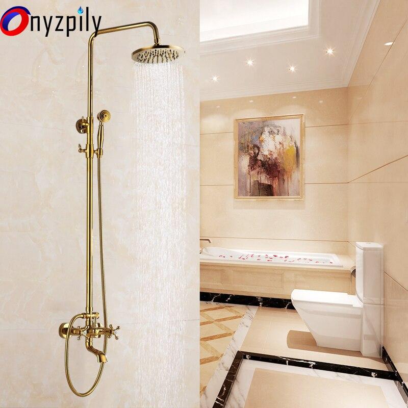 8 Shower Head Faucet Set Golden Brass Tub Mixer Handles Shower Faucets Hand Shower Sprayer antique brass 8 rain shower faucet set double corss handles tub mixer hand unit