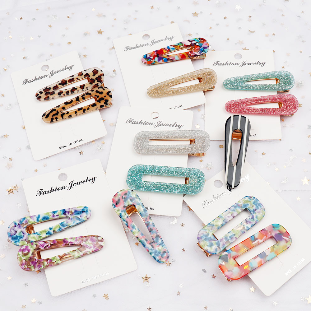 Oaoleer 1 Pair New Women Girls Acrylic Hollow Waterdrop Rectangle Hair Clips Tin Foil Sequins Hairpin Barrettes Accessories