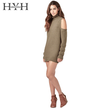 HYH HAOYIHUI Basic Pullovers Women Turtleneck Cold Shoulder Sweater Female Elegant Slim Long Sleeve Knitted Longline Sweaters