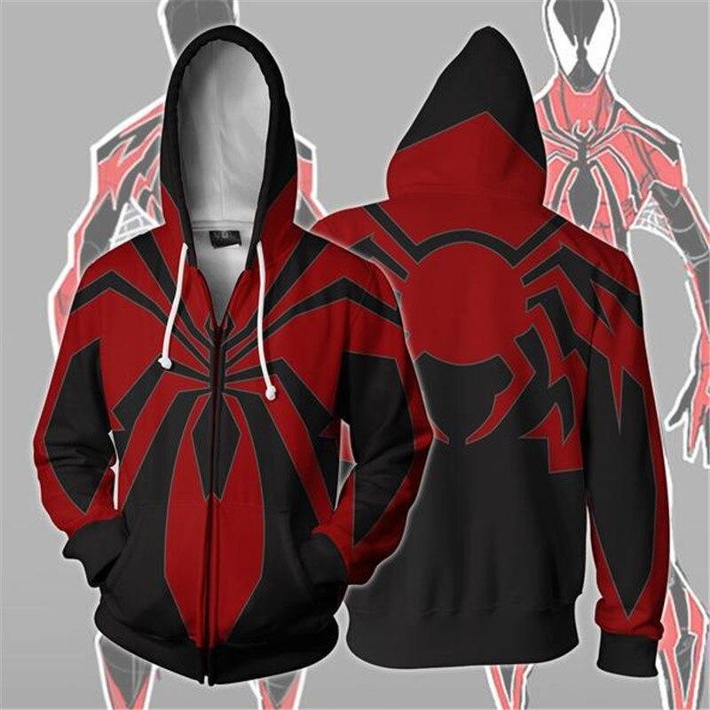 BIANYILONG 2018 new women's hooded men avengers Spiderman 3D printed hoodies tracksuit zipper hoodie hip hop tops Zip Hoodie