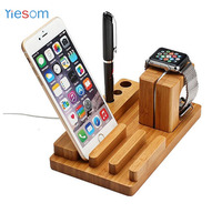 YIESOM Bamboo Wood Charge Dock Holder For Apple Watch Docking Station Cradle Bracket For IPhone IPad