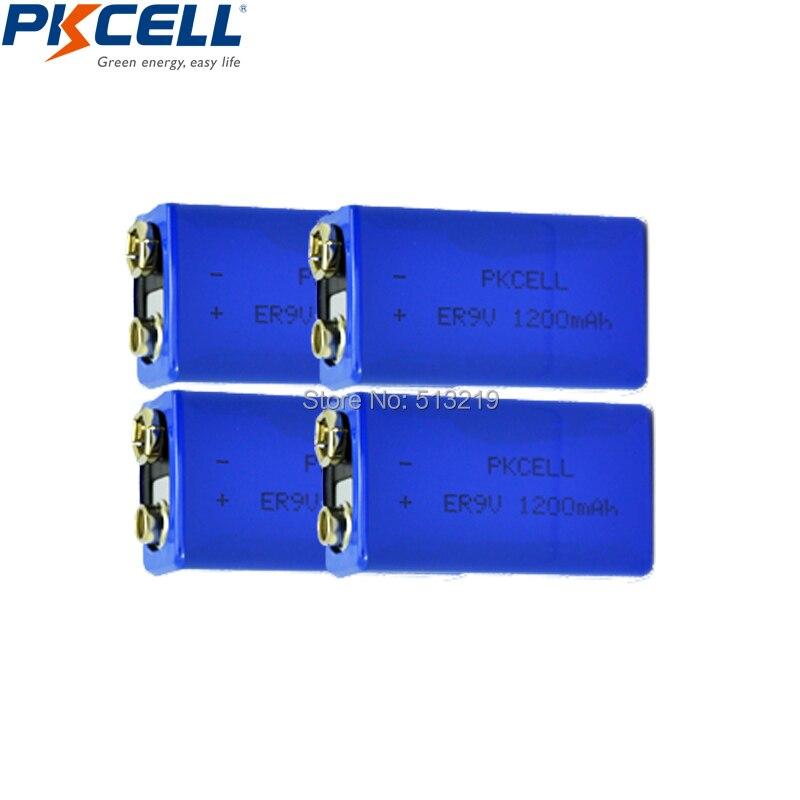 4pcs ER9V 6F22/6LR61 PP3 1200mah 10.8V Lithium-thionyl chloride(Li-SOCl2) battery ER 9V Batteria for smoke alarm sensor/Toys