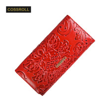 Women Wallet 100% Genuine Cow Leather Ladies Purses Lady Coin Pocket Red Long Wallets Female Clutch Bag For Women Gift