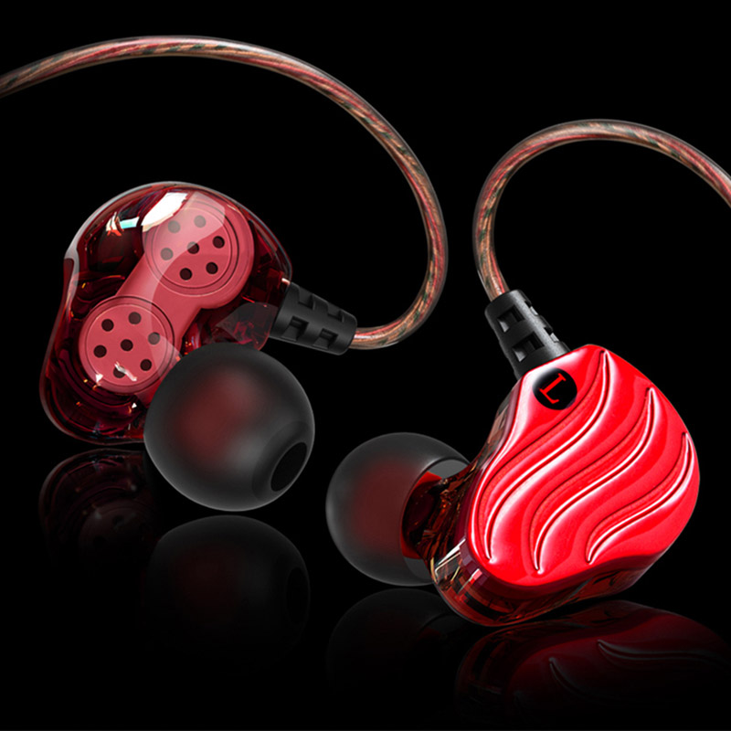 Newest In-ear Earphone With Mic HiFi Bass Stereo Earphone Double Dynamic Driver 4 Speakers Earbuds For Xiaomi Samsung Headset