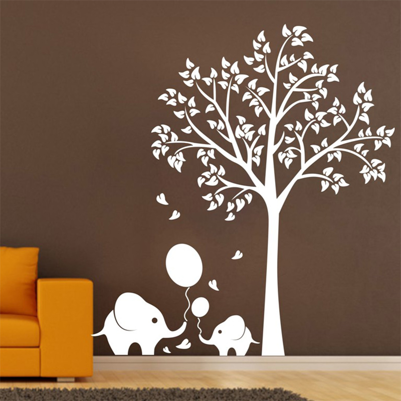 On Sale Oversize High150cm Elephant Tree Wall Decals Wall Mural Nursery Vinyls Baby Wall Stickers Wall Decor