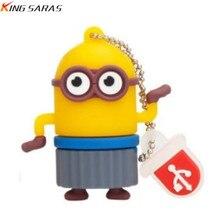 cartoon big eye usb flash drive 128gb 4GB 8GB pendrive 16GB pen 32GB 64GB little yellow minions USB 2.0 cute Free Shipping