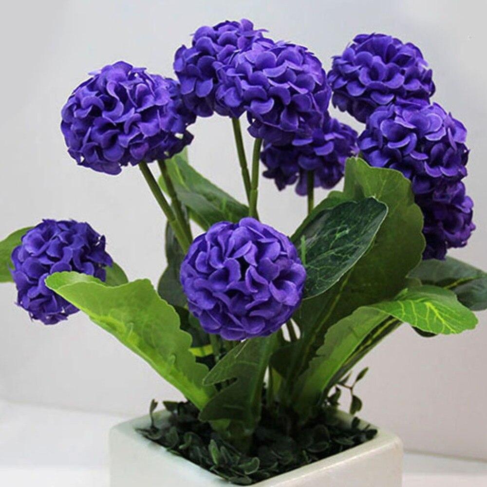 8 головок Искусственные цветы гортензии букет Главная Свадебные Декоративные поддельные Свадебные шелковые цветы помпон искусственный цв…
