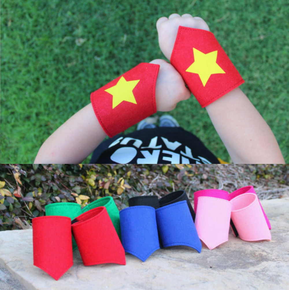 Wholesale Blank Superhero Wristbands, cuffs,fit child up to adult, the size is adjustable one pair of wristbands