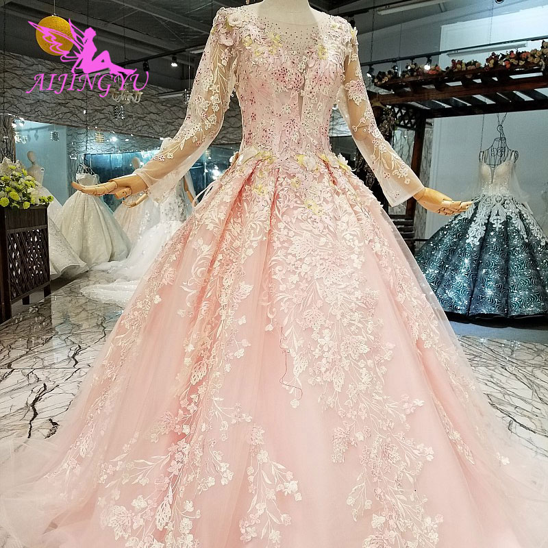 AIJINGYU Online Designer Wedding Dresses Plus Size 2018 Bridal Sale Princess Tulle New Tulle Gown Wedding Dress Turkey