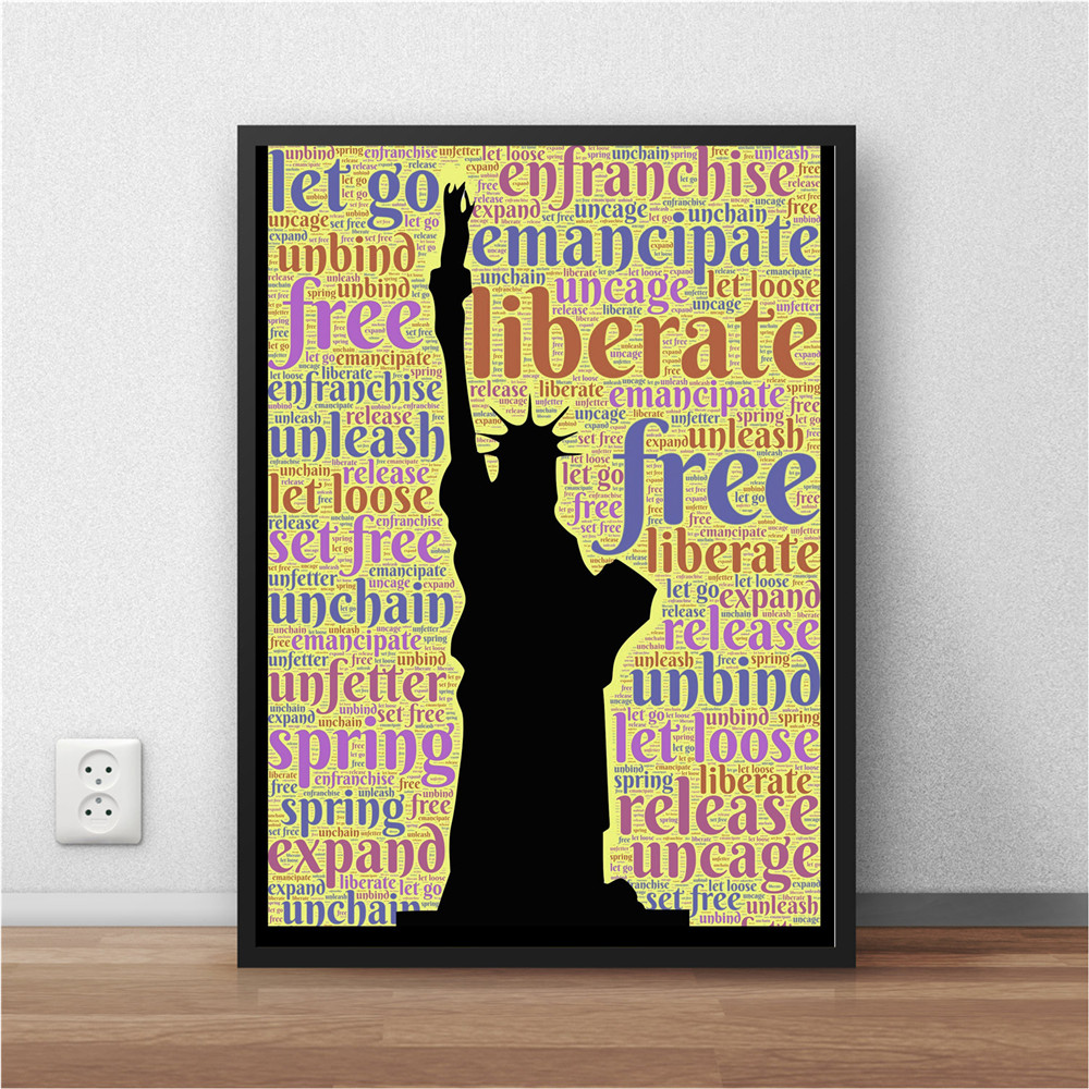 New York City Decal Landmark Statue of Liberty Words Typography Wall ...