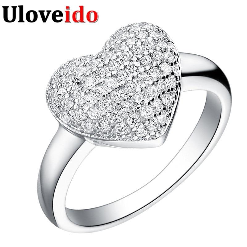 15٪ ٪ حلقة القلب مجوهرات مايكرو تمهيد الفضة مطلي خواتم للنساء مجوهرات الزفاف acessorios الفقرة mulher الحب uloveido j070