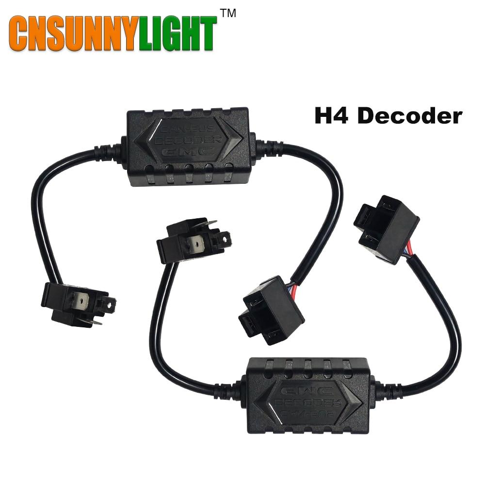цена на CNSUNNYLIGHT H4 H13 H7 H8 H11 HB3 9005 HB4 9006 LED Decoder Resistor Canbus Harness Adaptor For Headlight Bulbs Light Error Free