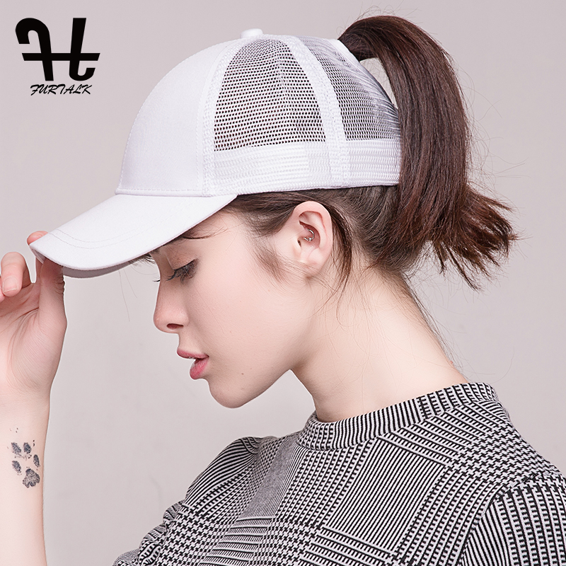FURTALK 2018 Fashion Baseball Caps Women Summer Sport Cap Messy Ponytail  Outdoor Sunscreen Hat Nylon Fastener Tape Caps