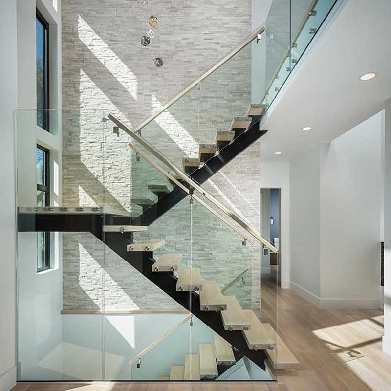 Detail Feedback Questions about glass railing wood stair
