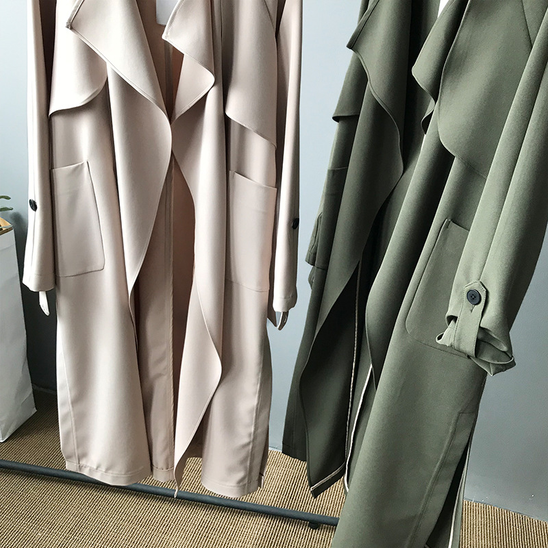 19 Spring Women Long Coat Turn Down Collar Harajuku Women Army Green Trench Coat Casaco Feminino Abrigo Mujer Trench Femme 13