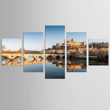 5 pieces framed Wall Art Picture Gift Home Decoration Canvas Print painting European architecture wholesale/NEW-QJFJ/1099