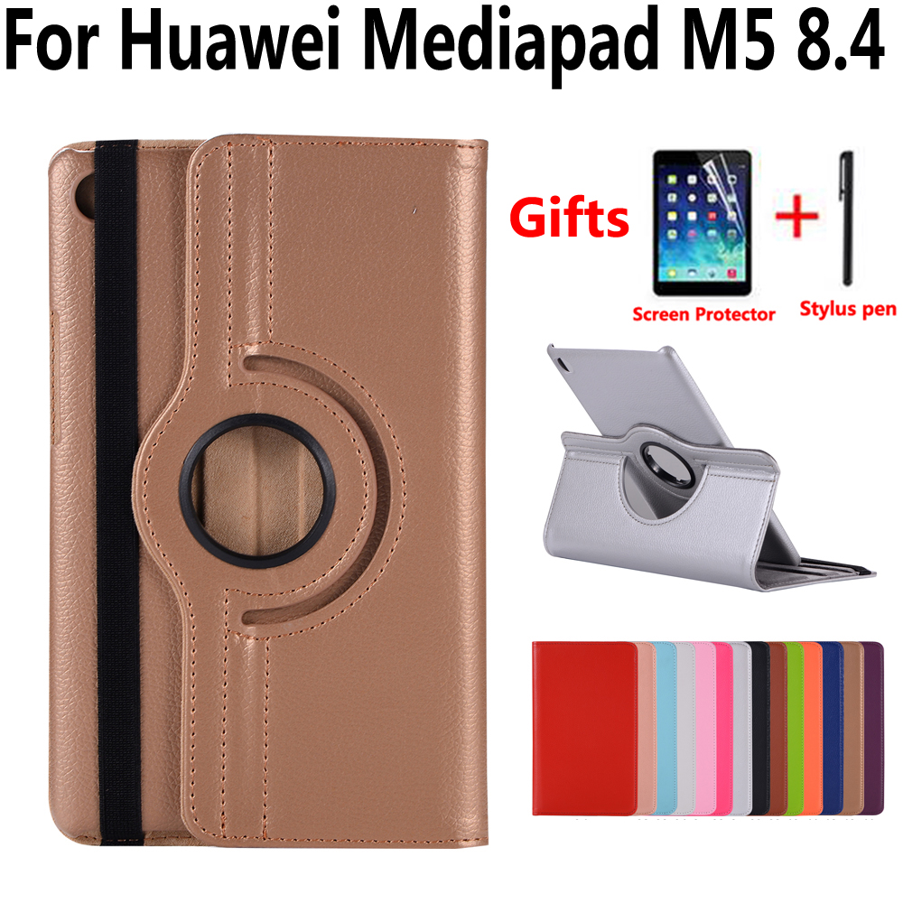 360 Degree Rotating Case For Huawei Mediapad M5 8 8.4 SHT-W09 SHT-AL09 Solid Pu Leather Stand Smart Case For Huawei M5 8.4 Cover