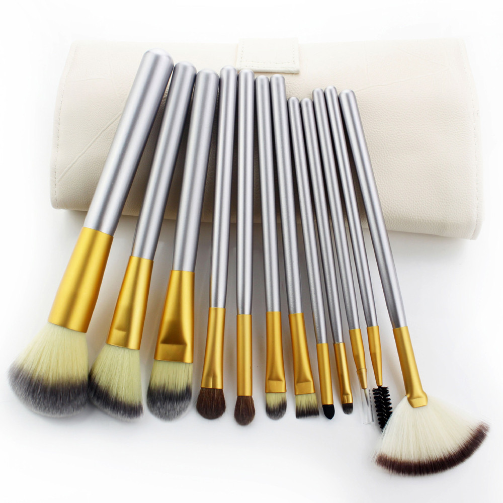 2018 New 12pcs Makeup Brushes set Fondational Eyeshadow Cosmetic Tool with Leather bag Professional Makeup Brush Set Tools professional cosmetic makeup brushes packaging makeup brush set gic mb002 12pcs set dark gold color free shipping