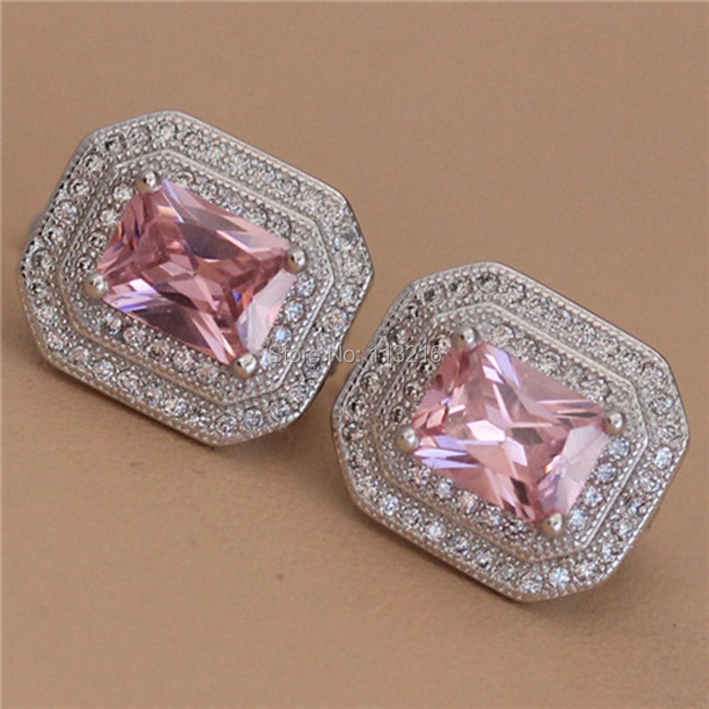 Promotion New pattern Jewelry Wholesale Pink Cubic Zirconia Best Sellers Silver Plated Punk Earrings R3241