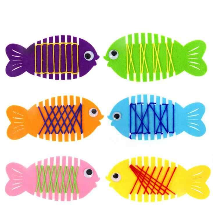 อนุบาลห่อ Threading สวมใส่ปลาคู่มือเกม Puzzle การเรียนรู้การศึกษาของเล่น Montessori ช่วยสอนคณิตศาสตร์ของเล่น