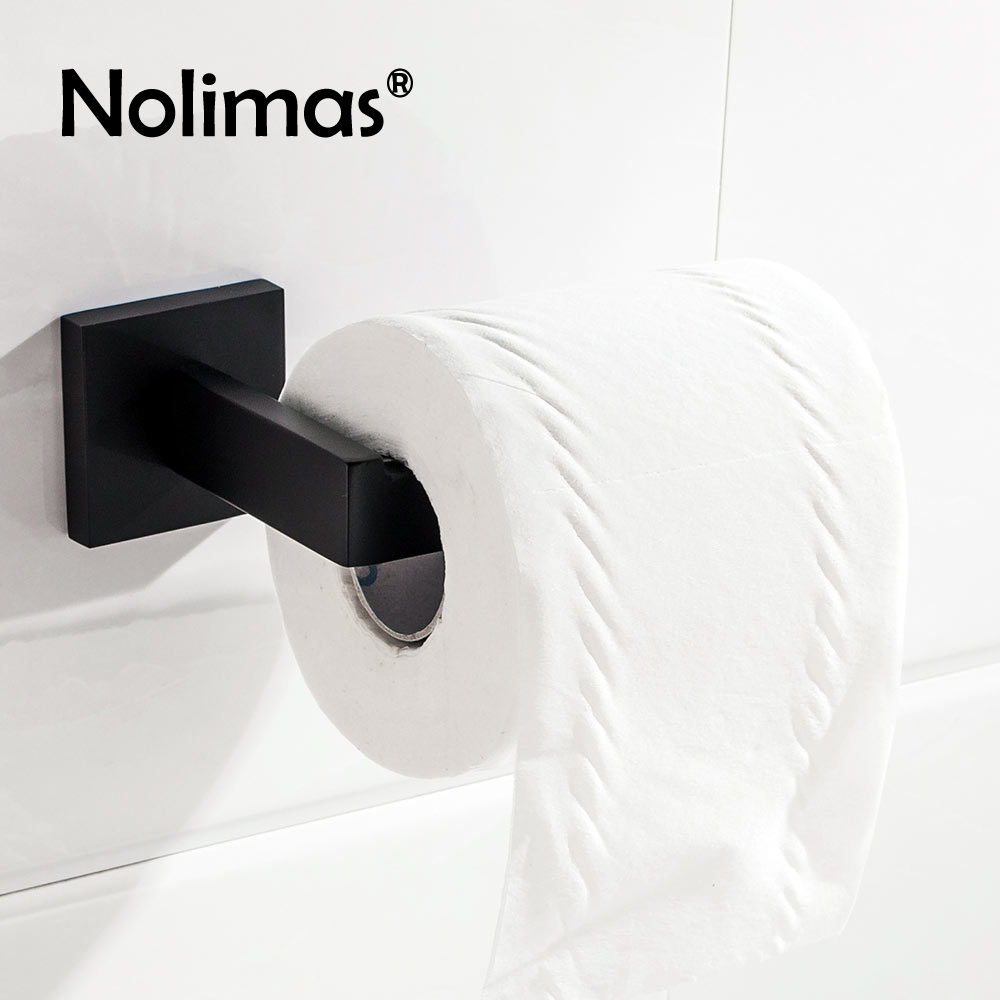SUS 304 Stainless Steel Black Toilet Paper Holder Bathroom Toilet Roll Holder For Roll Paper Towel Square Bathroom Accessories everso 2017 wall mount toilet paper holder chrome 304 sus stainless steel toilet roll paper holder bathroom accessory