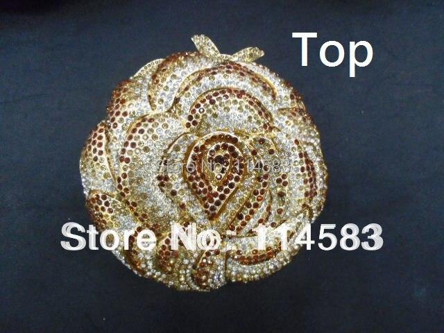 ФОТО #5020 Gold Crystal on 3D ROSE Floral Flower Wedding Bridal Party Night Metal Evening purse clutch bag handbag