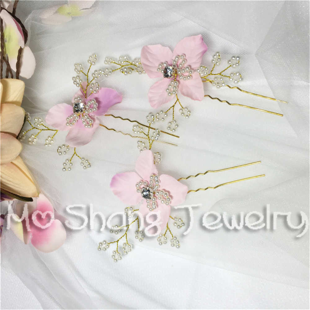 Simulated Pearl U Hair Fork Pink Flower Party Hairpin Handmade Bridesmaid Jewelry Wedding Hair Accessories Bridal Hair Pin