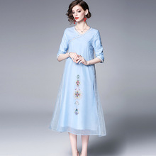 Loose Dress Women 2019 Spring New Vintage Embroidered Organza Round Neck A-Line Mid-Calf Light Blue Elegant S-XXL