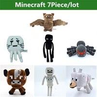 7 Adet/grup Minecraft Oyuncaklar Creeper Karikatür Oyunu Minecraft peluş Oyuncaklar İskelet Kurt enderman Inek Hayalet Örümcek Bat çocuk Oyuncakları