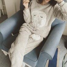Women s coral fleece nighty sleepwear cute owl pattern autumn winter ladies long sleeve pajamas nightwear
