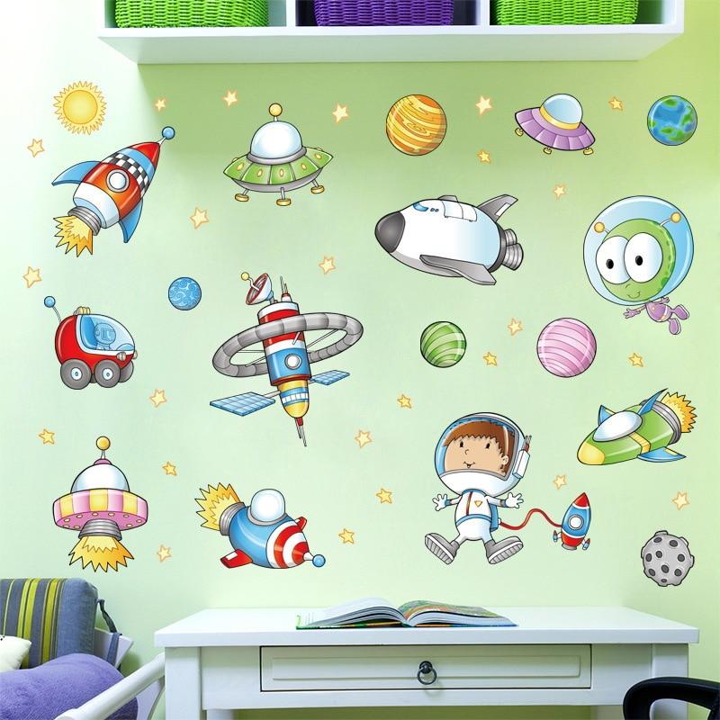 cartoon astronaut outer space planet art wall sticker diy children stickers/'k/_ES