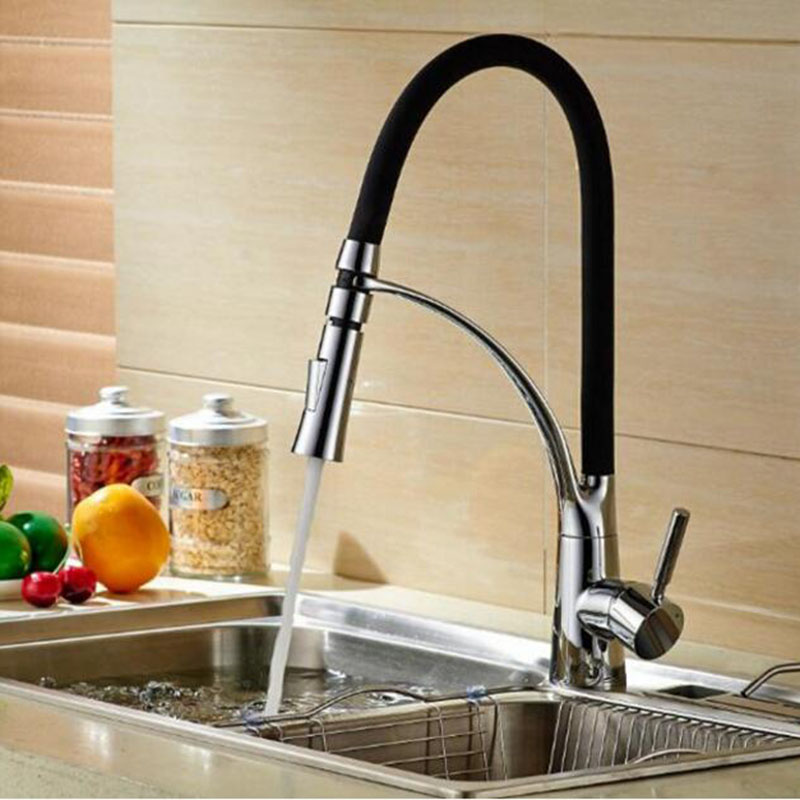 kitchen Vidric Faucet 3 color Pull - out basin faucet cottage faucet telescopic spring faucet hot and cold mixing faucet mixer
