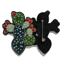 Cactus Silk Emboridered Patch Brooch Beaded Applique Patches Vintage Embroidered Badge Fabric Patch Fashion Clothing Decoration