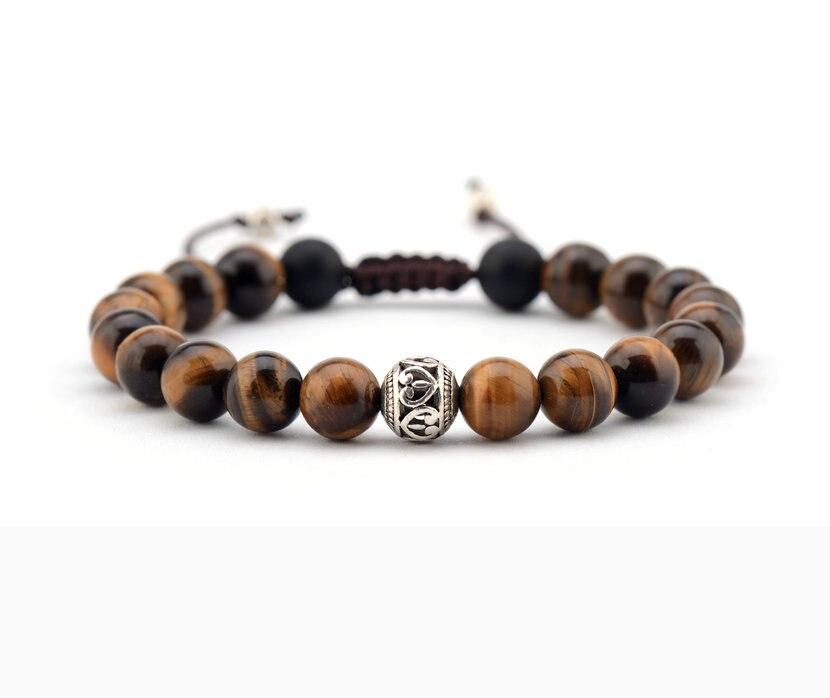 bracelet 8mm tiger eye tibetan shamballa
