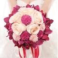 Más nuevo de Boda Nupcial Ramo de mariage Perlas de dama de Honor Ramos De Novia Artificiales Flor de Cristal buque de noiva 2017