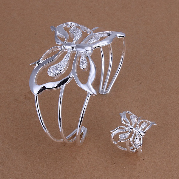Silver plated fashion noble elegant refined luxury inlaid stone butterfly hot selling two piece sets silver jewelry S260