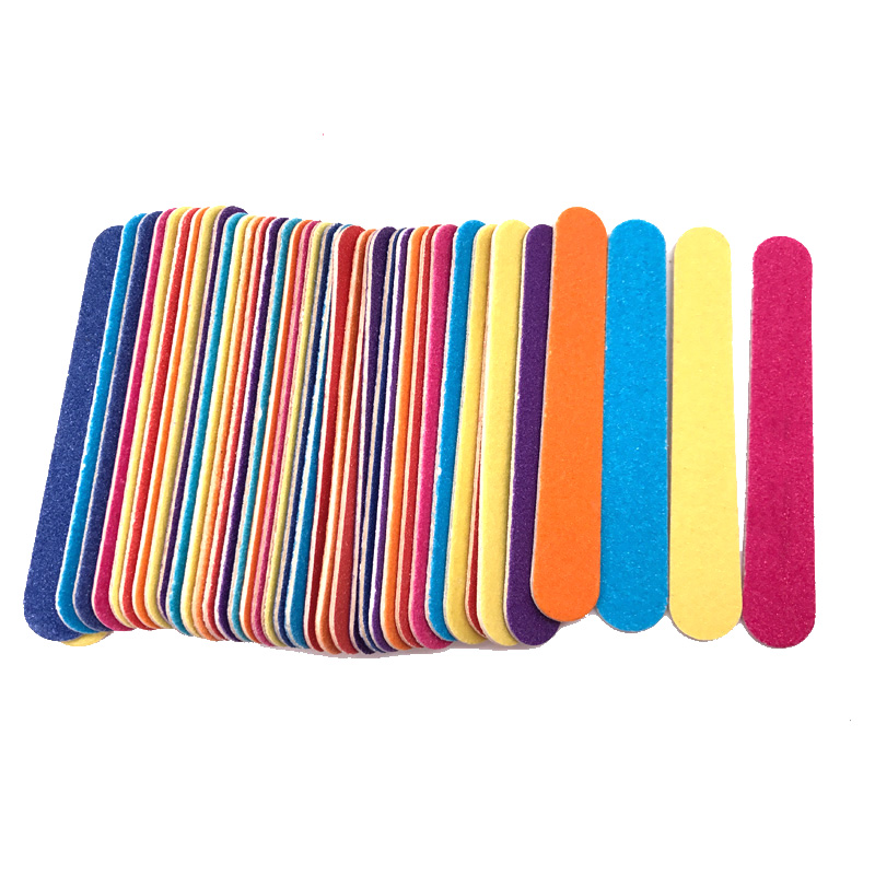 100 X Strong Thick Wood Mini Nail Files 180/240 Sandpaper lime a ongle Double-sided Sanding Buffer Colorful Disposable File